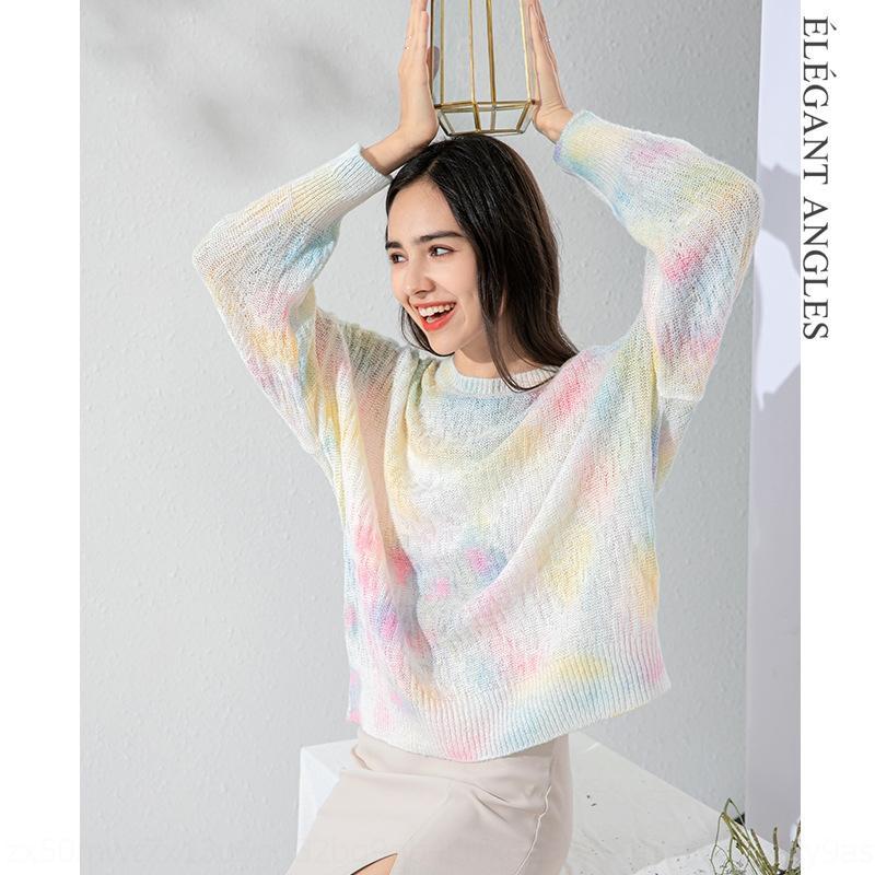 aGkkB 3K0eT корейски Ins стиль ленивый свитер мохер спрей осени новых женщин круглое выделение искусства свободный свитер 2020 крашение