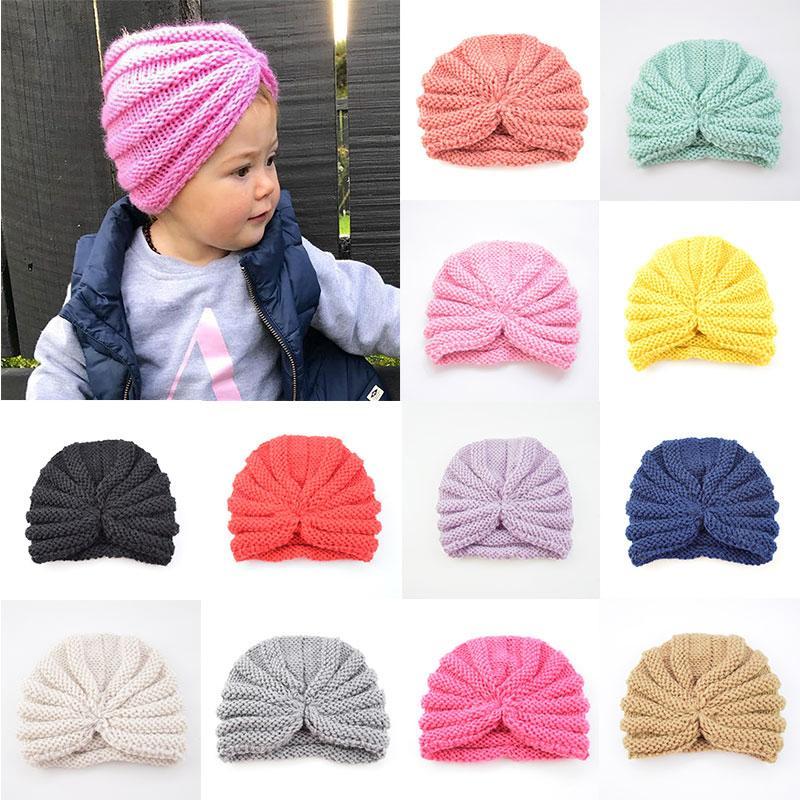 Lavorato a maglia inverno cappello dei capretti per le ragazze di colore della caramella Bonnet protezioni dei bambini Beanie Turbante calda dei cappelli dei ragazzi per bambini accessori per cappelli invernali