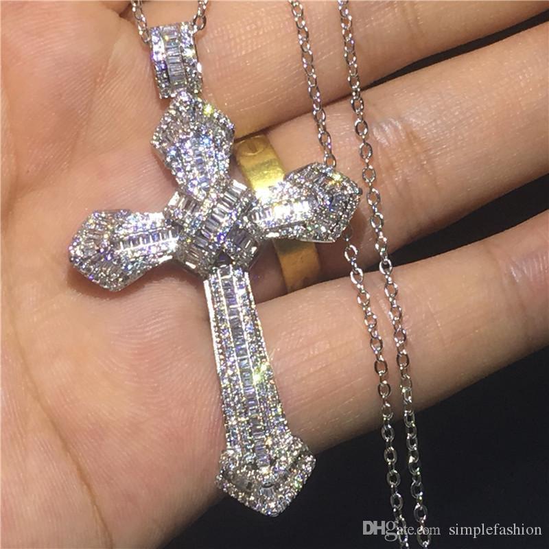 Vecalon grandes de la manera cruz colgante de plata de ley 925 de boda de diamante de compromiso con colgantes collar para las mujeres de los hombres de joyería