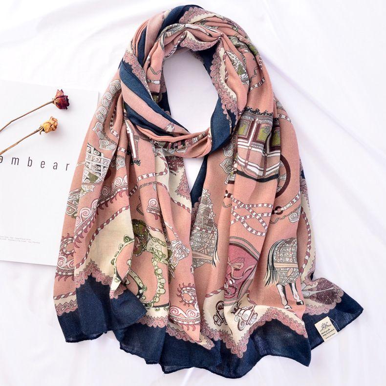 PHLE moda retro algodão cachecol xale designer de cadeia de exportação de gaze impressão lenço de comércio exterior à prova de sol