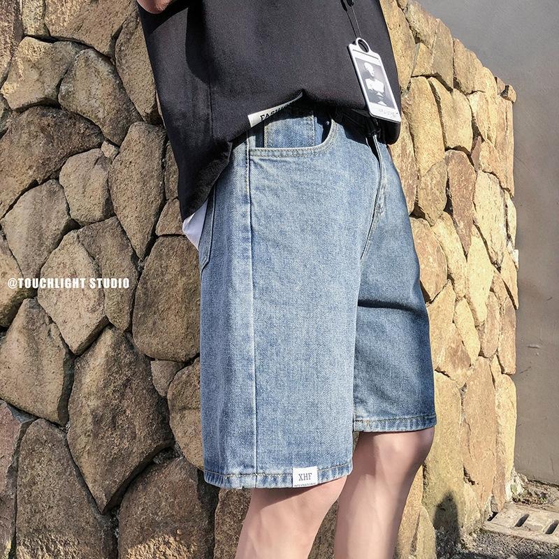 Şort erkekler yaz ve kot şort ve kot düz kot Kore tarzı moda kot pantolon gündelik tüm maç pantolon gT yıkanmış kırpılmış gevşek