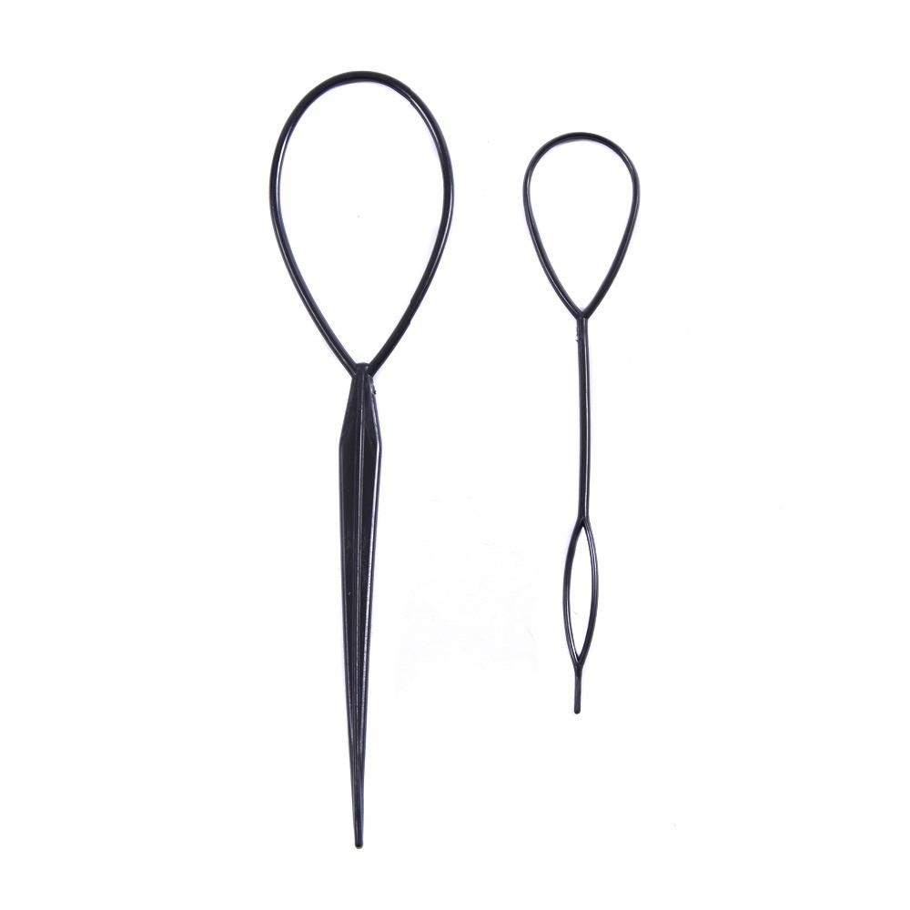 2pcs / Set tirer les cheveux aiguille Ponytail cheveux tresser Créateur boucle Styling Tail Hair Clip Braid Maker Outils Styling bricolage coiffure