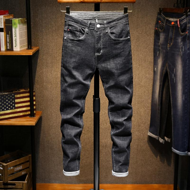 zm69d лодыжку мужские случайные джинсы черные джинсы тонкие и осенние брюки мужские Корейский стиль все-матч весной натяжкой подходят модные повседневные брюки