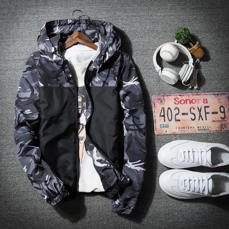 OP57u EdhLT Весна и тонкий модный камуфляж Ветровка Осень Корейский куртка куртка молодежная личность Casua пальто модные мужские и женские футболки