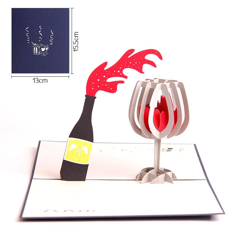 Fashion 3D Red Wine Greeting Cards Creative Valentine's Day Festive Card Simple Style Paper Greeting Cards