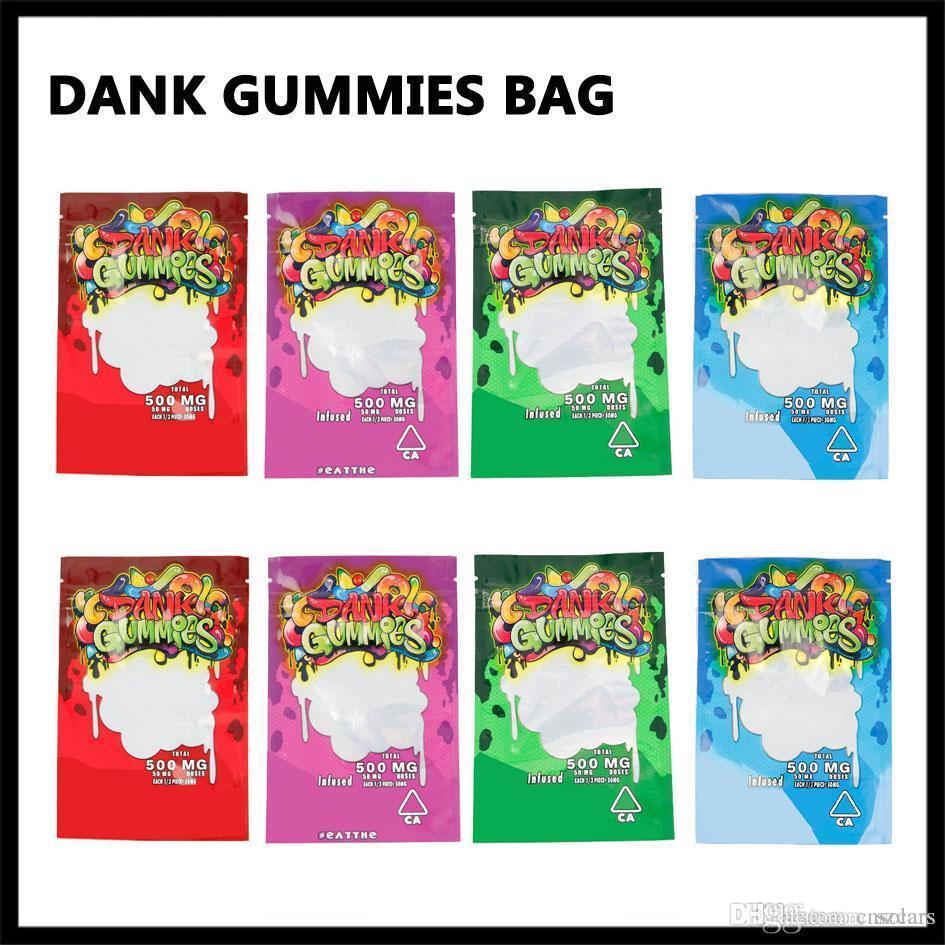 드라이 허브 담배 꽃 Vape에 대한 최신 축축한의 gummies 마일 라 가방 500mg의 소매 지퍼 잠금 Childproof Smellproof 플라스틱 가방 4 개 종류