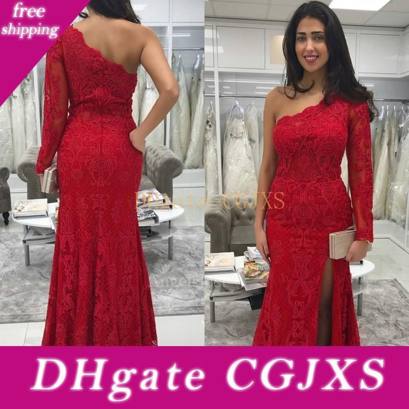 Simples total Lace Red Prom Dresses Uma luva Partido vestidos longos Side Dividir Sexy empregada doméstica de honra vestido de noite