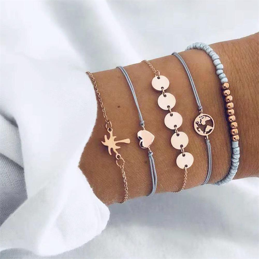 Gioielli 5 pc / insieme del cuore di modo del braccialetto di fascino Map Set per le donne di Boemia Perle Paillette corda catena BRACCIALE partito