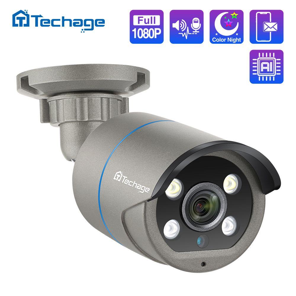 1080P 2MP 48V POE IP Camera Two Way Audio IR Outdoor Waterproof P2P ONVIF CCTV Security Video Surveillance DC12V AI Camera