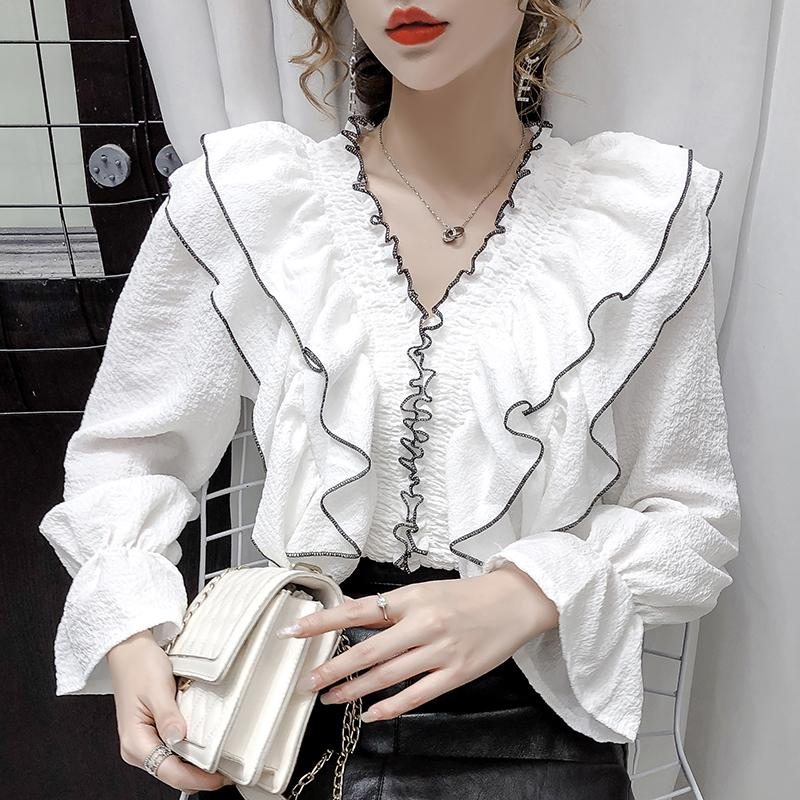 Korean Stylish Ruffled Chiffon Tops Women Blouses 2020 Autumn Ruffles V Neck Long Sleeve Ladies Shirts Solid Color Blusas Mujer