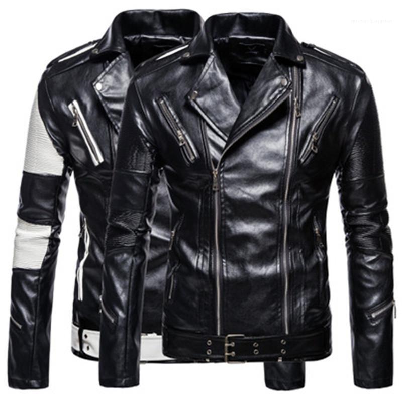 Casual Kısa Coats Man Renk bloke Uzun Kollu Ceket İlkbahar Sonbahar Moda PU Deri Yaka Boyun Ceket Tasarımcı Mens Fermuar