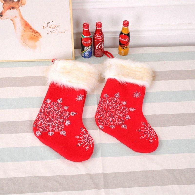 Décorations de Noël Bas de Noël Bas Linen Broderie Chaussettes Sacs cadeaux Pendentif Props Accueil U7g3 #