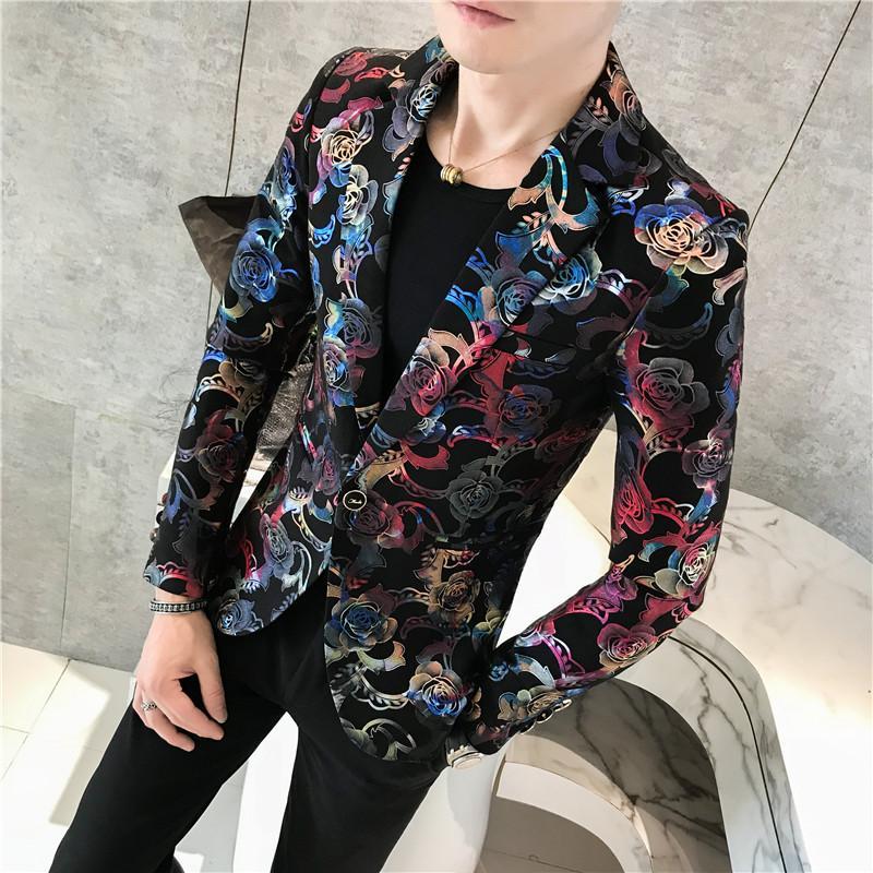 2020 Maschio Suit Blazer Fiore d'oro Stampa Party Wedding Festival eleganti giacche sportive per gli uomini della fase Costumi Cantanti Slim Fit Giacca