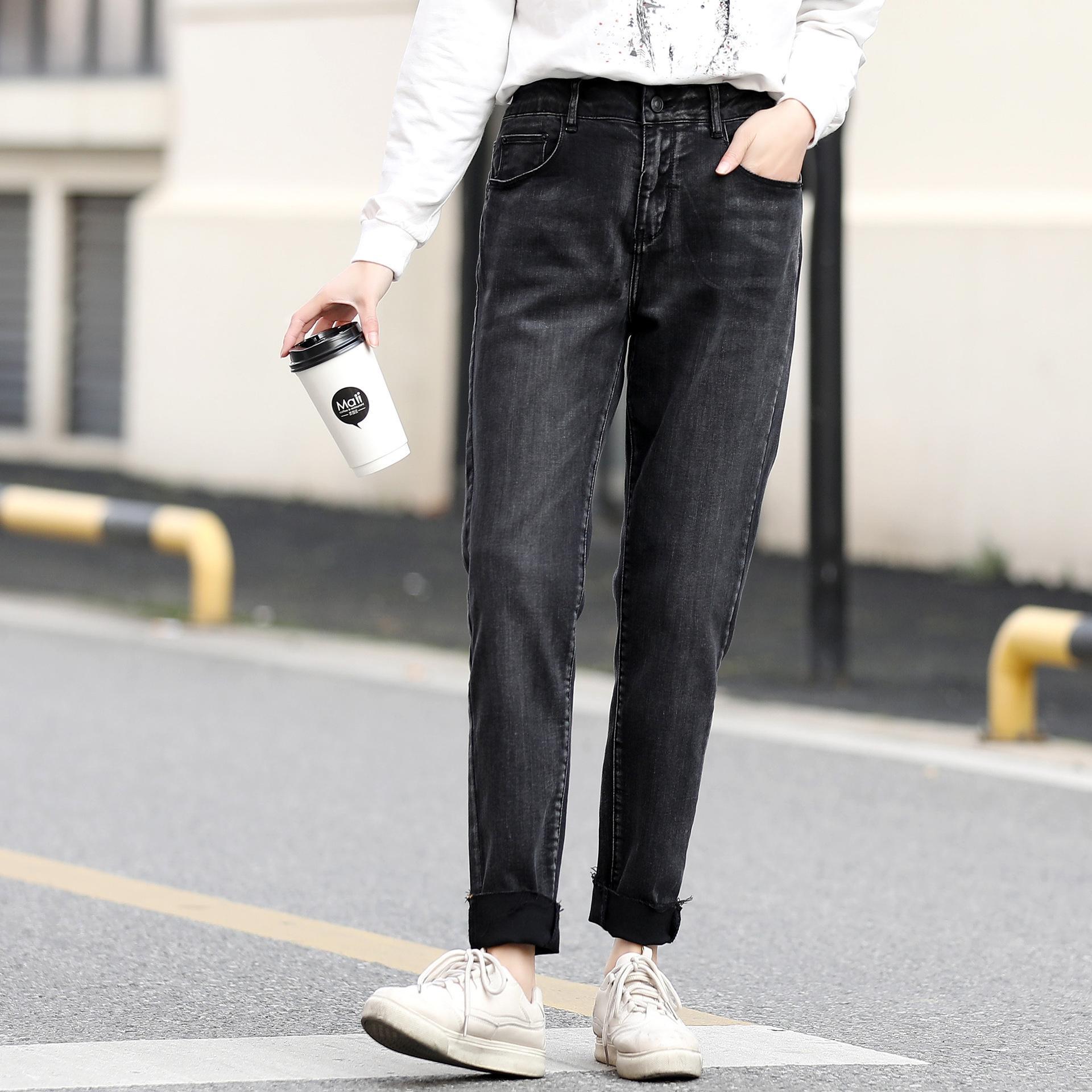 FTztr Boutique Schlankheits lässige Jeans 200kg Fett MM Frühjahr tragen alle Anpassungs schwarzen Leggings enge Hosen Jeans enge Hosen plus Größe Frauen cl