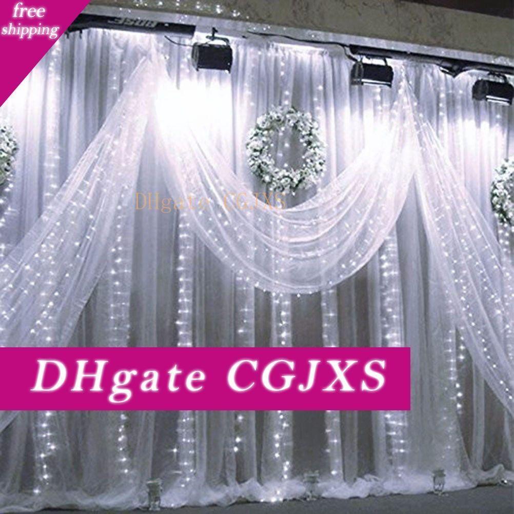 New 3x6m 600 Led-Fenster-Vorhang Eiszapfen String Lichterketten Hochzeit Dekor Weihnachten Girlande Weihnachten Indoor Outdoor Lighting Startseite
