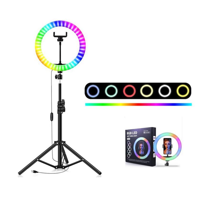 ملون RGB LED حلقة مصباح 10inch ل26CM الخفيفة مع حامل الهاتف المحمول 1.6M الوقوف ترايبود لTikTok مشاركة في مدونة فيديو YouTub لايف فيديو المدونين مدونة فيديو