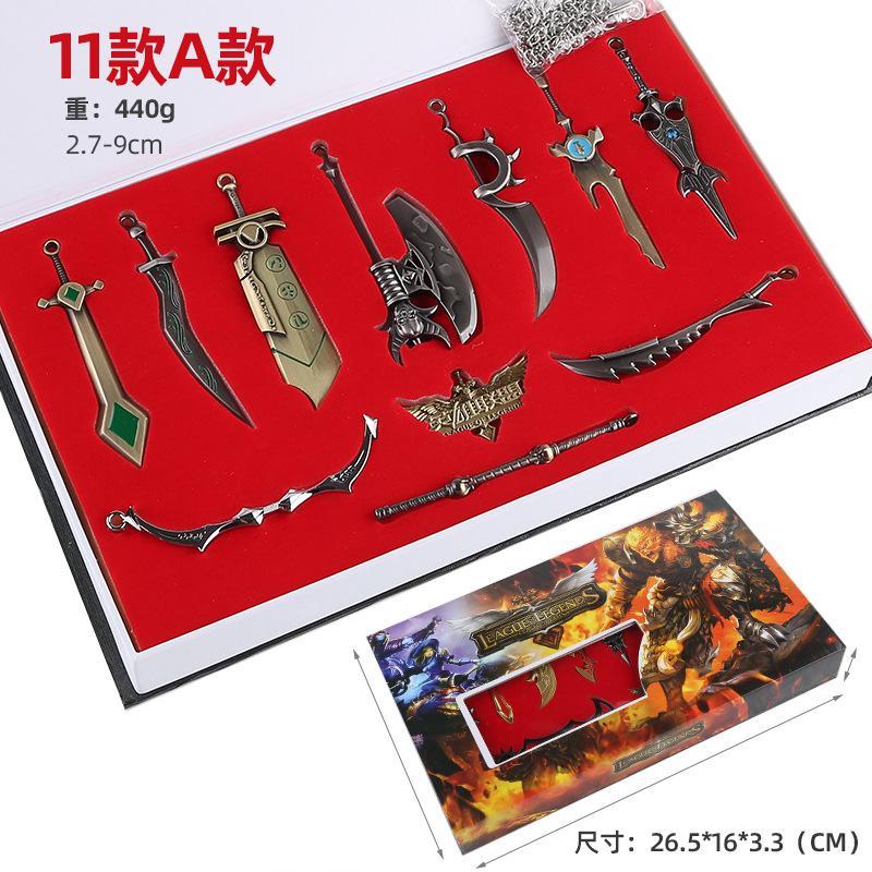 2.7-9cm Oyun LOL Kahraman Metal Silahlar Alliance Anahtarlık Alaşım Anahtar Oyun bıçak Modeli Ligler Oyun Anahtarlık Takı Aksesuar eşyalar