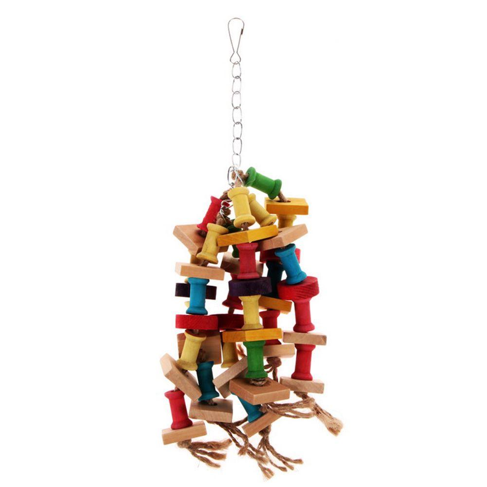 Красочные деревянные Кубики блоки Птица Попугай Клетка Chew игрушки
