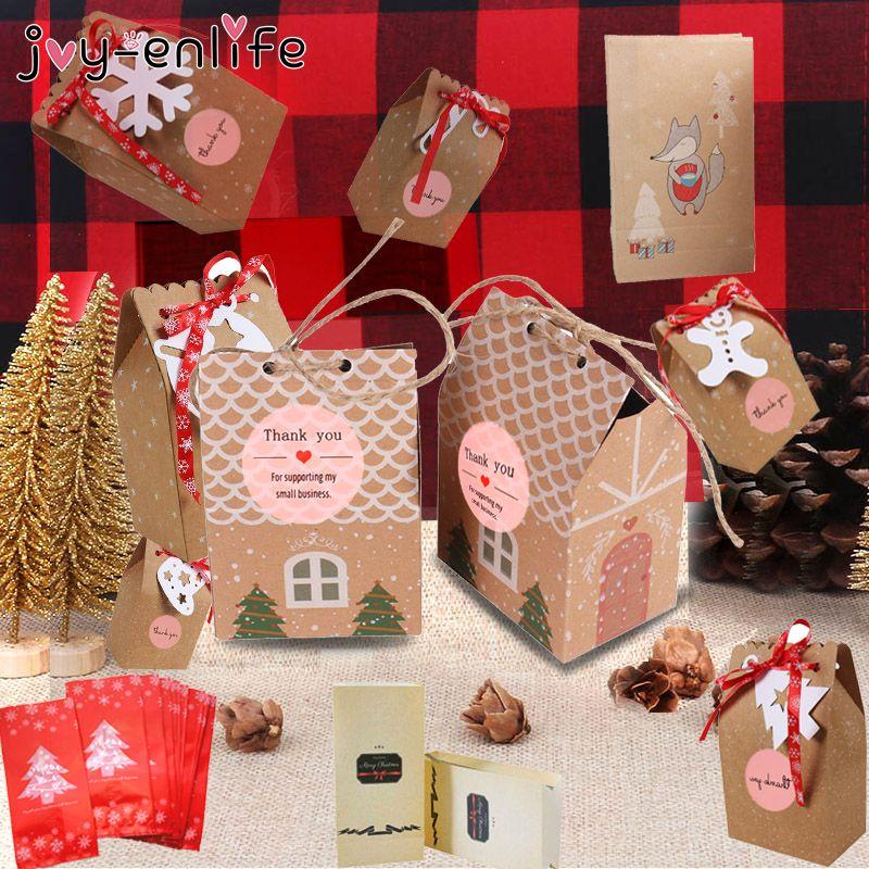 Papel de Natal Kraft Paper House Bags Caixas de presente bolinho agradece-lhe etiquetar Decoração Candy Box Navidad Ano Novo