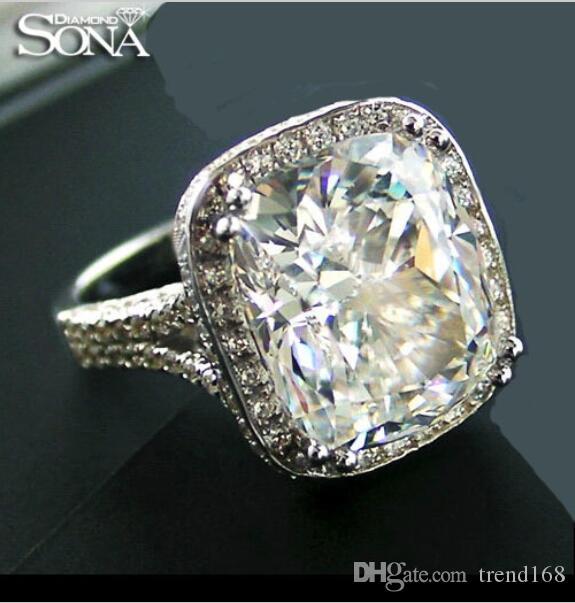 Sona 8 Ayar Elmas Gümüş Kraliçe Yüzük Ekstra Büyük Elmas Avrupa-Amerikan abartarak moda belirleyicisi Renk Sınıf IJ Düğün Ya nişan yüzüğü