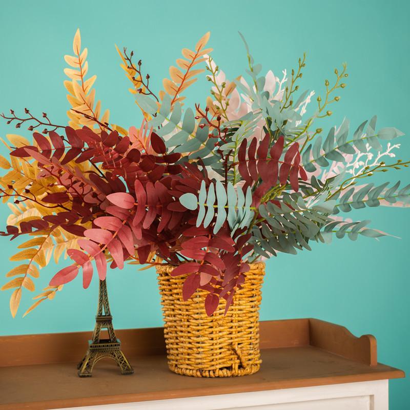 Искусственные растения Шелка отпечатанной ткани Многоцветный саранчой листья Пучки Свадебное украшение Творческий Реквизит KSH41