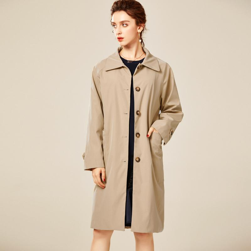 Women's Runway Trench Coats Turn Down Collar Long Sleeves Single Breasted Front Pockets Fashion Coats Overcoat