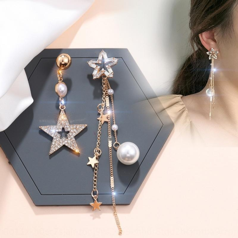 Japanese and Korean S925 silver needle star Crystal Pearl long anti-allergy Pearl Crystal exaggerated high-end earrings earrings earrings 7X