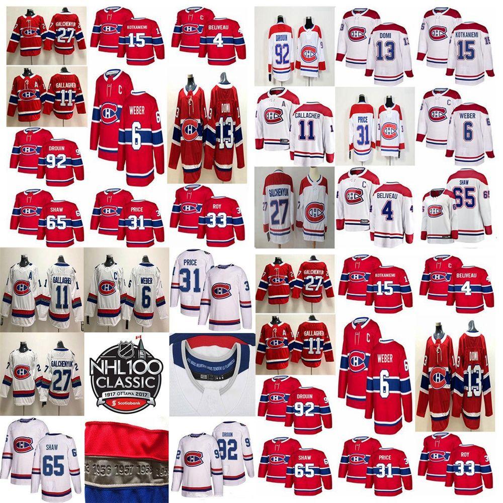 Montreal Canadiens 100 Classic Jersey 33 Patrick Roy Jersey 27 Alex Galchenyuk 31 Carey Prezzo 65 ANDERW Shaw Hockey Jersey Cucitato Mens
