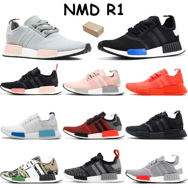 Con scatola NMD R1 scarpe da corsa Europa esclusivo lussureggiante rosso crudo rosa triplo nero bianco tattile verde blanch blu uomini donne sneakers formatori