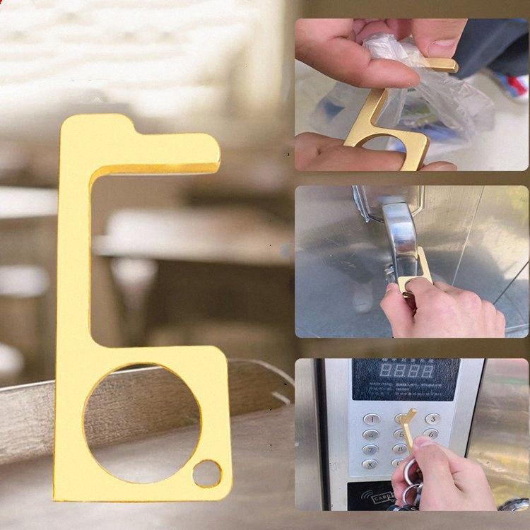 5 stil Anahtarlık Metal Temassız Kapı Açıcı karşıtı dokunmatik anahtarlık Kapı Kolu Kilit Asansör Aracı T2I5905 L3y1 # Hook