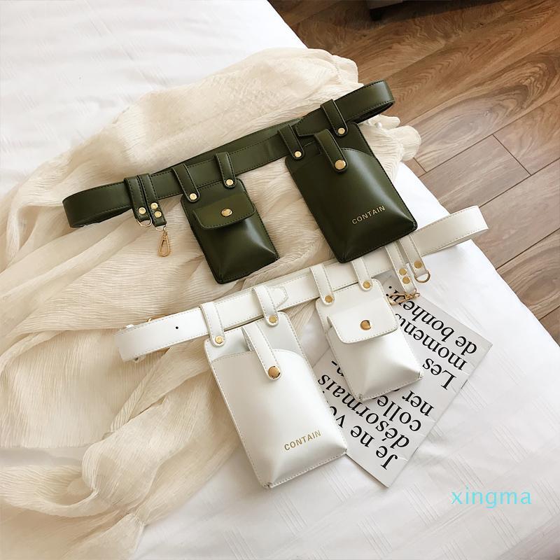 Nueva paquetes de Fanny 2019 la moda de cuero de teléfono paquetes de bolsa punk Bolsa de cintura Cinturón femenino del monedero