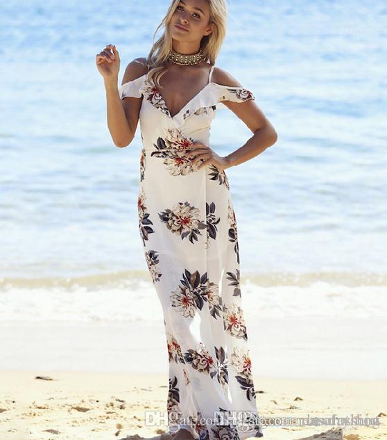 Spaghetti Strap Beach Dress Lady Designer Abiti Donna Abbigliamento casual donne di estate Flora abiti stampati senza maniche sexy