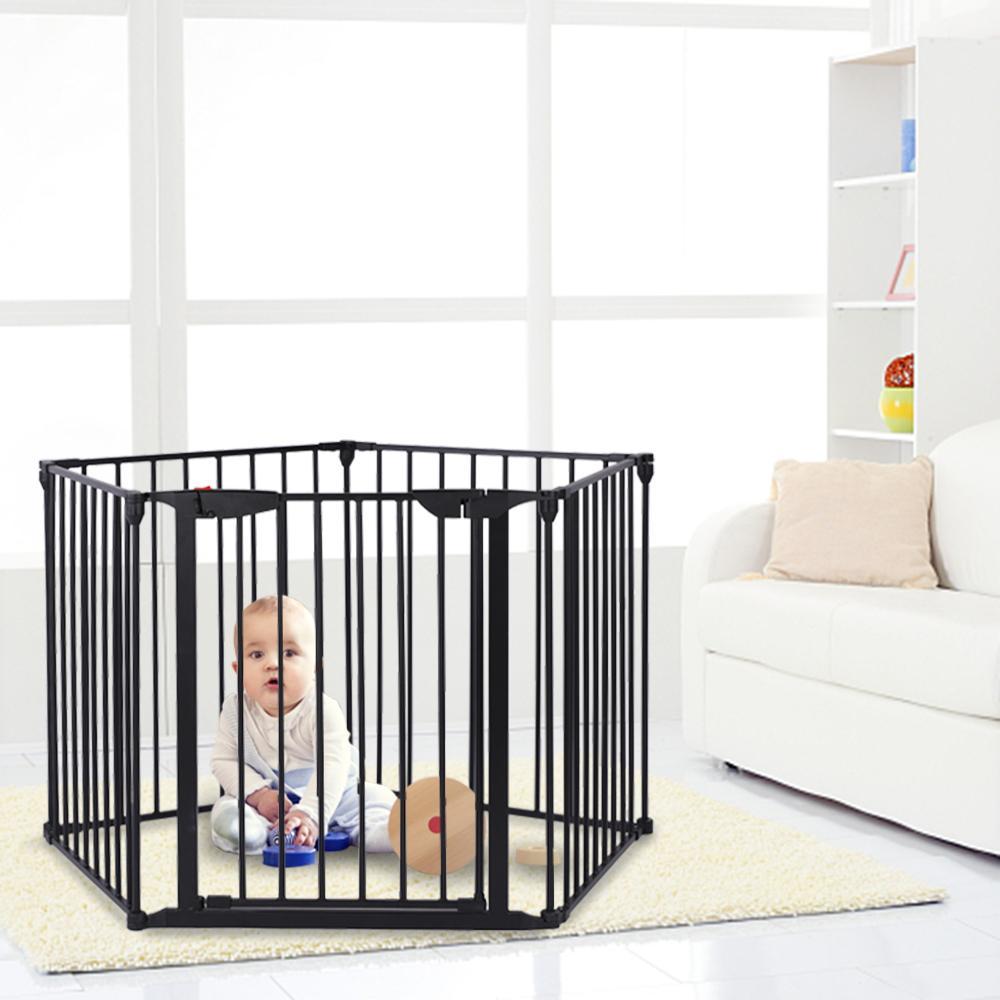 Waco Широкие настраиваемые детские ворота камин защитная защитная защитная охрана регулируемая 5-панель металлический игровой двор для малыша домашнее животное рождественская елка забор