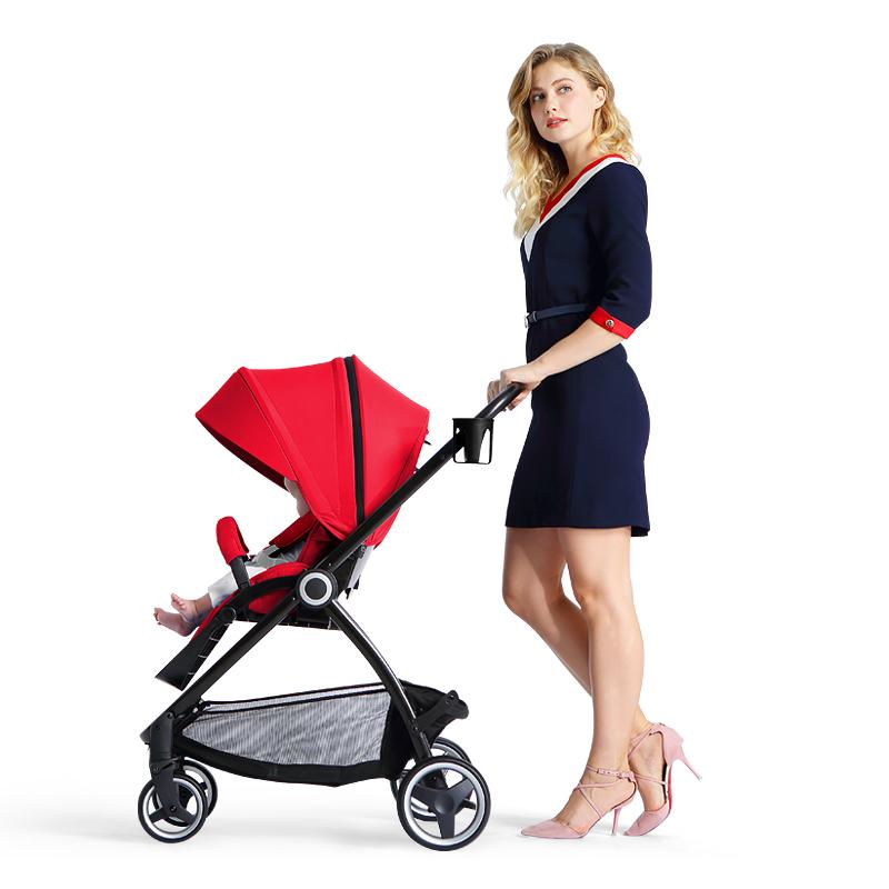 Playkids Luxury Baby Stroller Can Sit and Lie High land-scape Fashion Carriage Pram 4 Season Tow Way Push and Folding A Key Fold