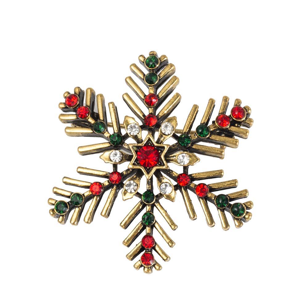 Regalos de cristal broche de la vendimia exquisita del copo de nieve de Navidad Pin de la broche de mujeres pernos de las broches Decoración de Navidad Feliz Navidad caliente de venta