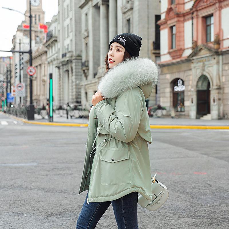 Parkas de las mujeres en el invierno de las parkas 2021 abrigos con capucha con capucha Cuello de piel grueso chaquetas cálidas Ropa de nieve