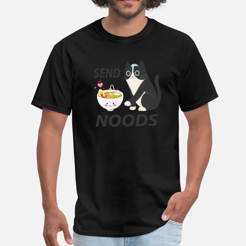 Noods Sevimli Kedi Japon Drwing t gömlek erkekler gönder% 100 pamuk Euro Boyut-3XL S Kırışıklık Karşıtı Komik Yaz Stili Yenilik gömlek sığacak Tasarımları