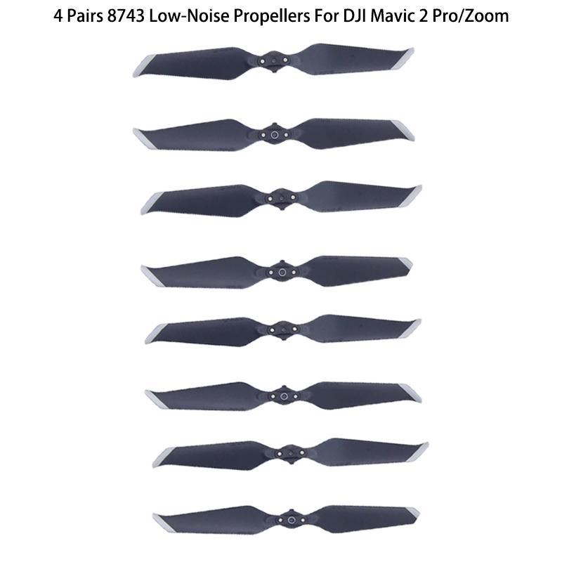 Stoklarımızda 4 Çiftler Altın / Gümüş 8743F Düşük Gürültü Pervaneler Blade DJI 2 PRO / ZOOM Drone Aksesuarları