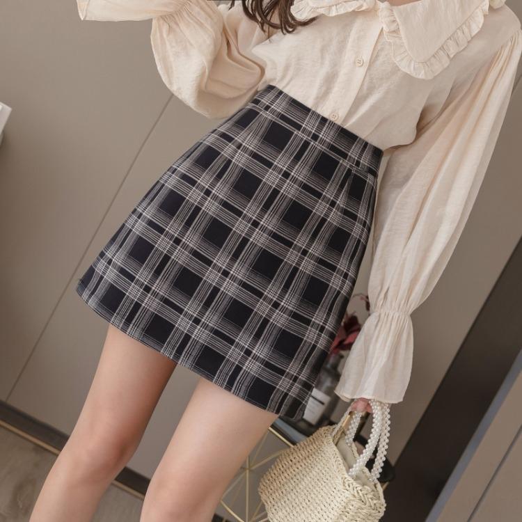 de las mujeres de Corea del estilo elegante A- A- falda de línea de adelgazamiento vestido de línea a cuadros A- cintura alta falda 2020 SwbA5 otoño