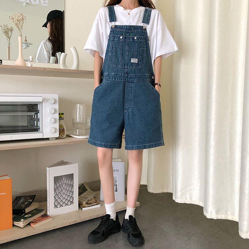 Turno da donna Rompere SML PREPPY Style per le donne 2021 Blu sciolto Blue Denim Tuta Pantaloncini Jeans Womens (78500)