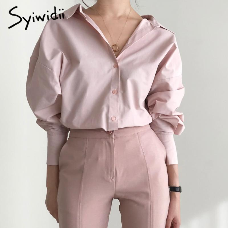 syiwidii женщин блузок элегантной моды офис леди шикарный корейский топ сыпучие длинным рукавом рубашки контактный белый назад V шеи женской одежды