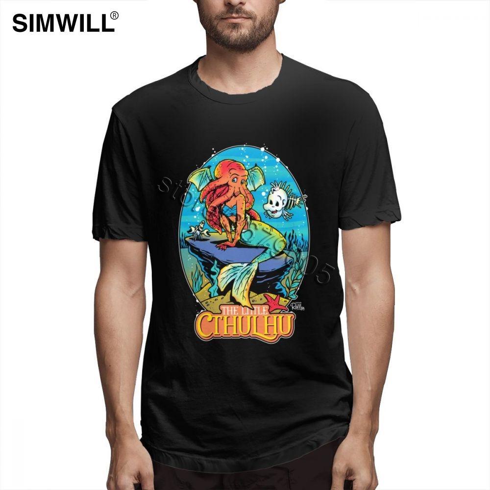 Enfriar camiseta El pequeño Cthulhu Hombres Custom Fit de manga corta camiseta gráfica camisas gran hombre alto Tamaño de la ropa