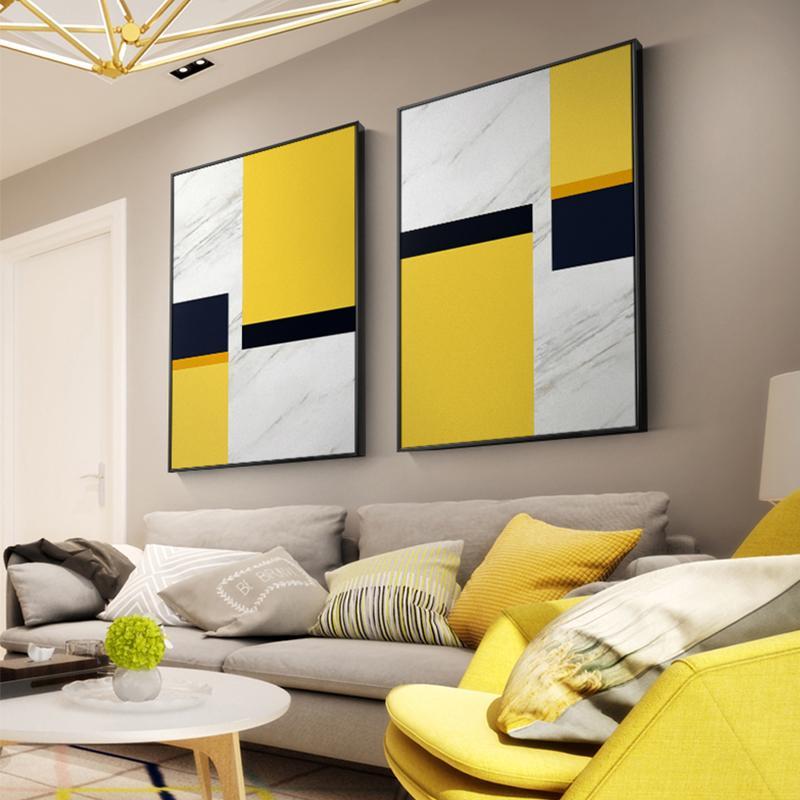 Estratto giallo n bianco della tela di canapa Pittura Geometria Poster e stampare Wall Art Immagini Per Soggiorno Camera da letto Nordic Home Decor