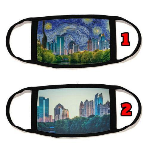 İçimizdeki Yüz Atlanta Pamuk Skyline Malzeme Yeniden Yıkanabilir Üretilmiş Maske # 11