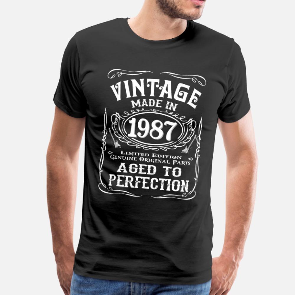 Vintage Made Nel 1987 camicia uomini della maglietta di stampa del breve manicotto O del collo abiti sciolti costruzione Primavera Autunno Famiglia