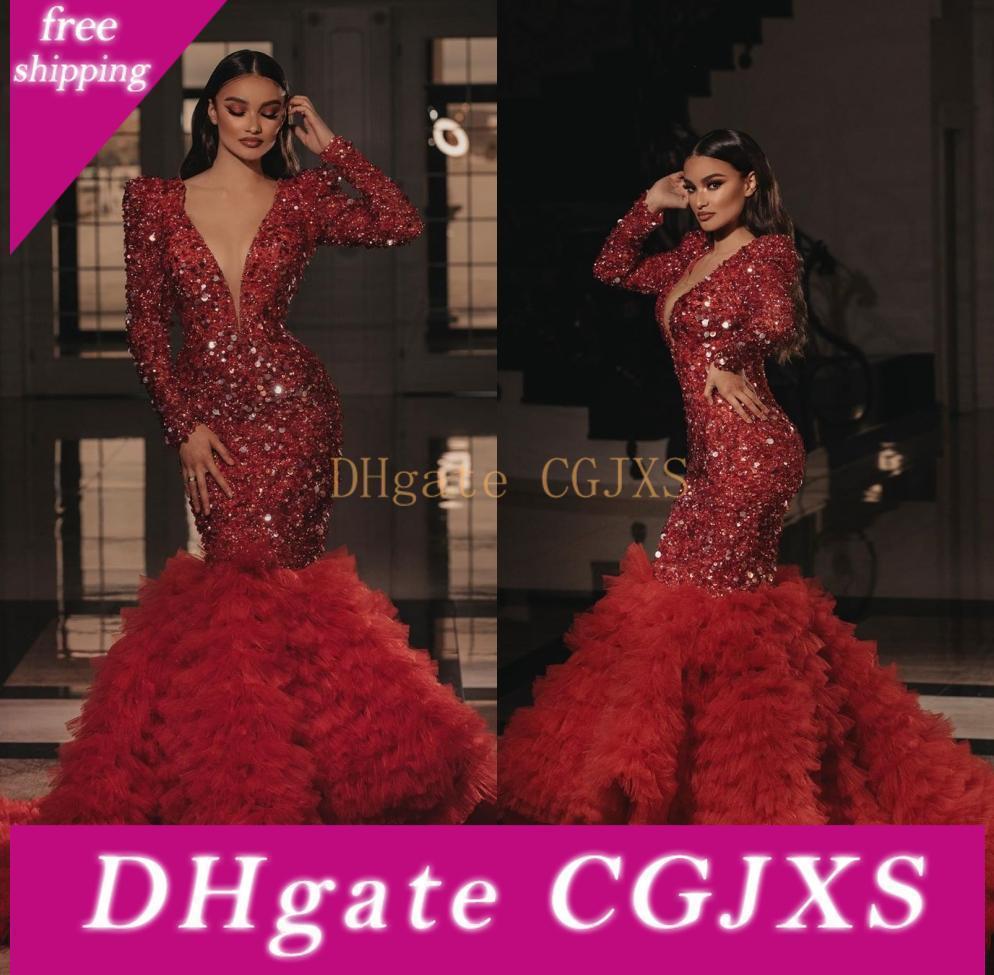 Новое прибытие Одеяния De soirée Элегантный бисера Красный Русалка Пром платья 2020 Глубокий V шеи длинным рукавом Пром платья Вечернее платье Vestidos De Fiesta