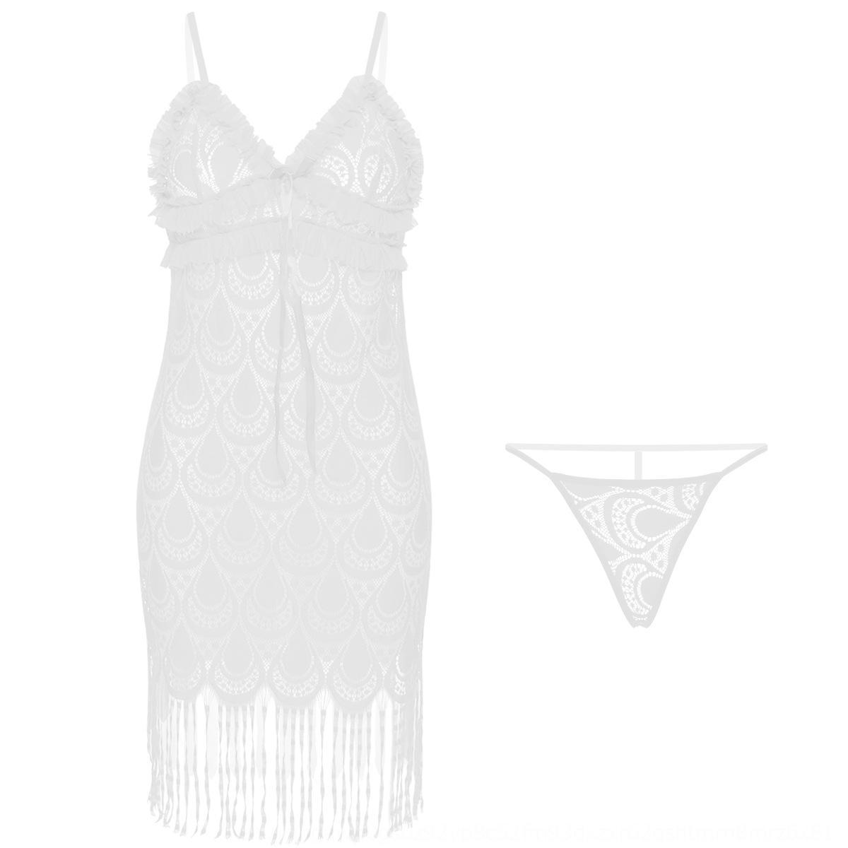 New sexy lingerie perspectiva rendas sexy borla Underwear pijama nightdress tentação suspender saia longa Sling pijamas set 7268