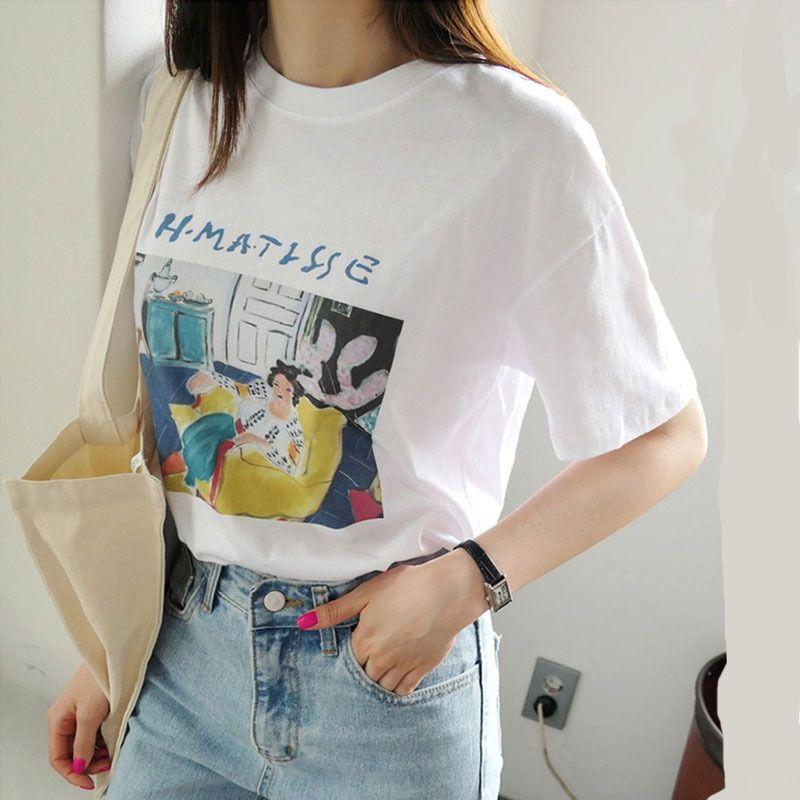 mXMqo short blanc féminin Top caleçon T- caleçon sleeve 2020 été nouveau top ins T-shirt imprimé chemise de base lâche coréenne à la mode