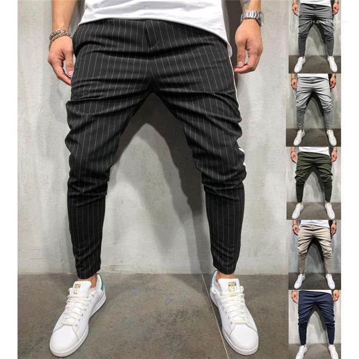 Mode casual hommes Streetwears adolescents à rayures Imprimer Pantalon Crayon Été Designer lambrissé Contraste Couleur Sport Pantalon desserrées
