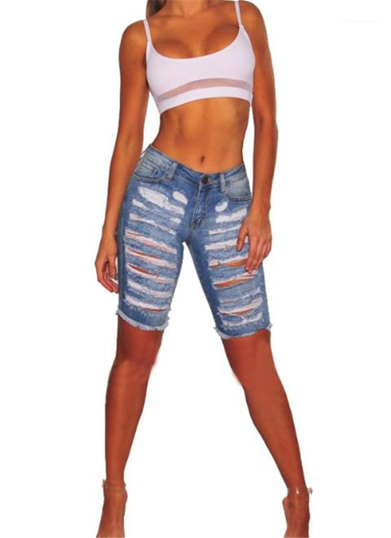 Kot Moda Delik Kasetli Jeans Casual Yüksek Waisted Diz Boyu Jeans Kadın Tasarımcı Giyim Kadınlar Ripped